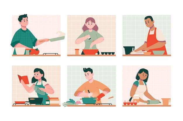 책과 인터넷에서 요리하는 법을 배우는 사람들 무료 벡터
