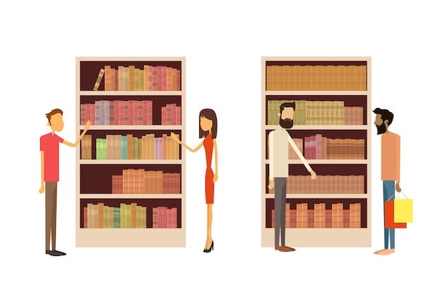 people in library book shop interior bookself vector premium download rh freepik com