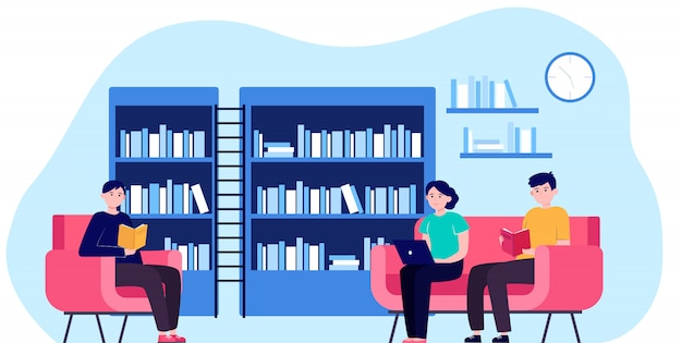 People in library flat vector illustration Free Vector
