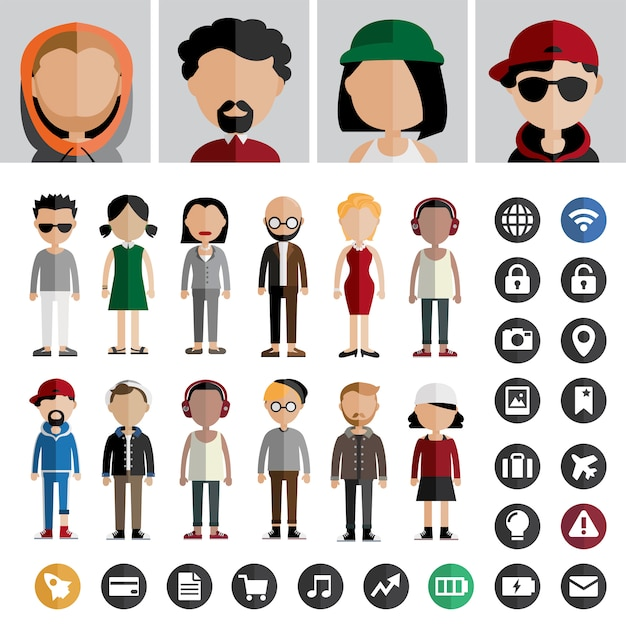 People lifestyle contemporary icon vector concept Free Vector