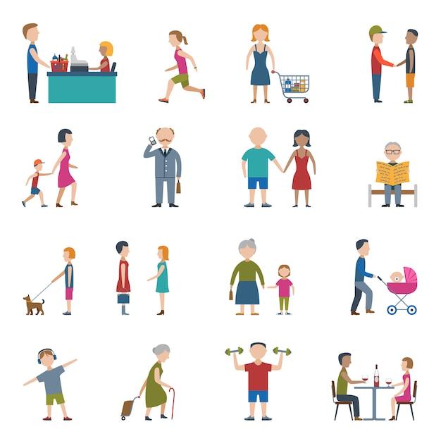 People lifestyle icon set Free Vector