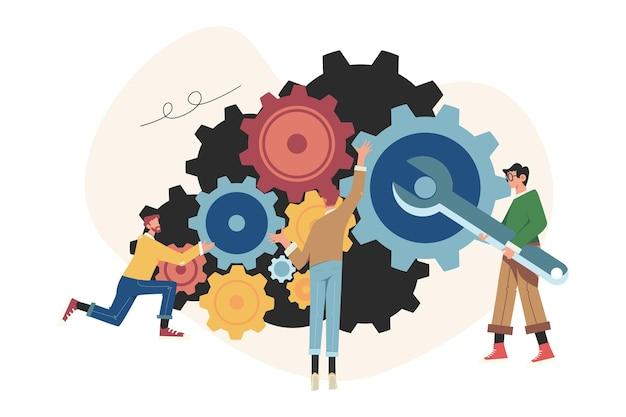 비즈니스 전략 분석 메커니즘의 사람 링크 프리미엄 벡터