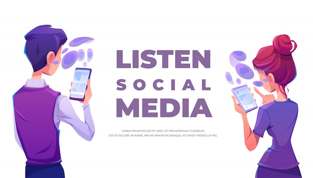 People listen social media using smartphone banner Free Vector