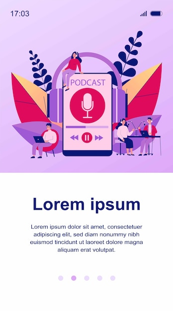 People listening speakers from broadcasting station   illustration. man and woman listening podcast online anchorperson sitting and talking to microphone. radio and technology concept Premium Vector
