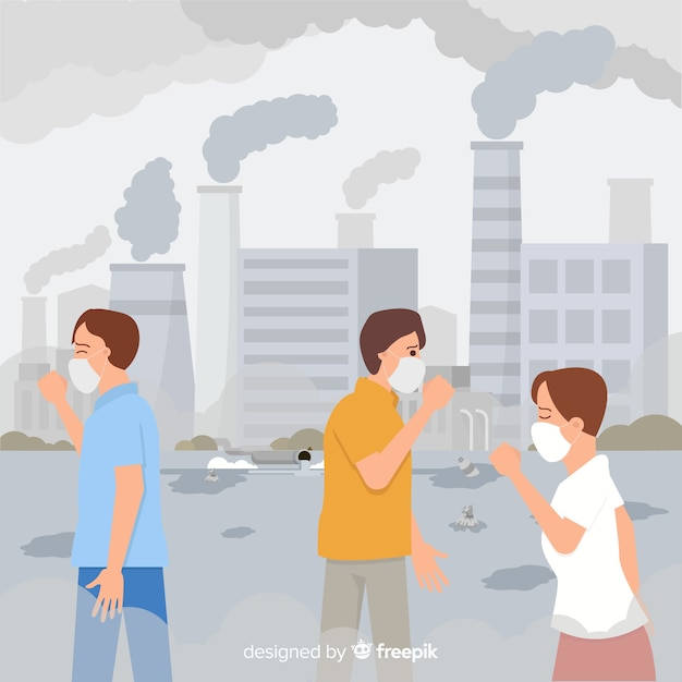 People living in a city full of pollution Free Vector