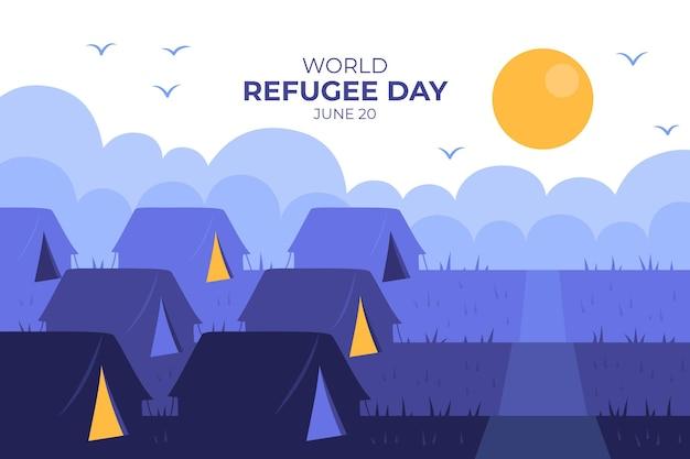 テントに住んでいる人は手描きの難民の日 無料ベクター