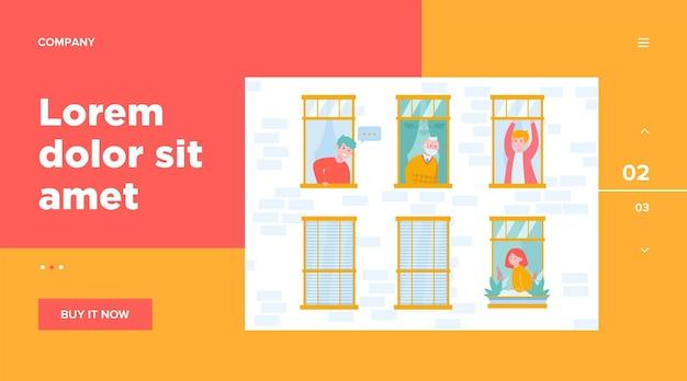Persone che vivono in un edificio. appartamento, finestra, vicino. concetto di stile di vita e quartiere per la progettazione di siti web o una pagina web di destinazione Vettore gratuito