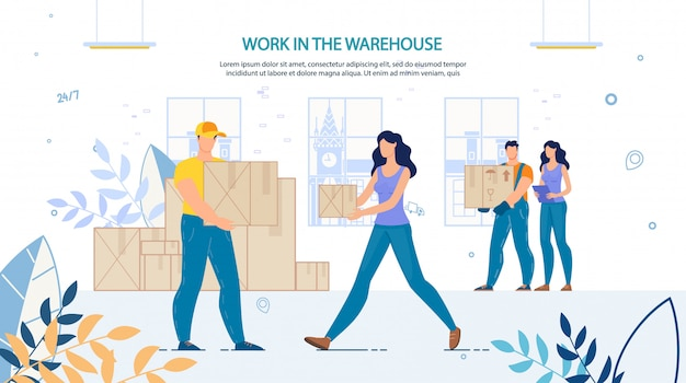 People loaders at work in warehouse advertisement Premium Vector
