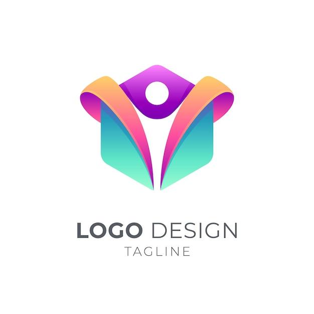 People logo in hexagon shape Premium Vector