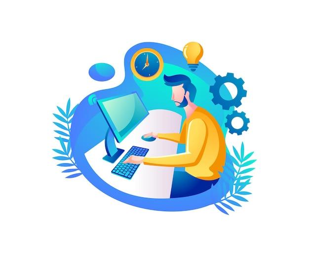 コンピューターを見て、ホームオフィスで働いている人 Premiumベクター