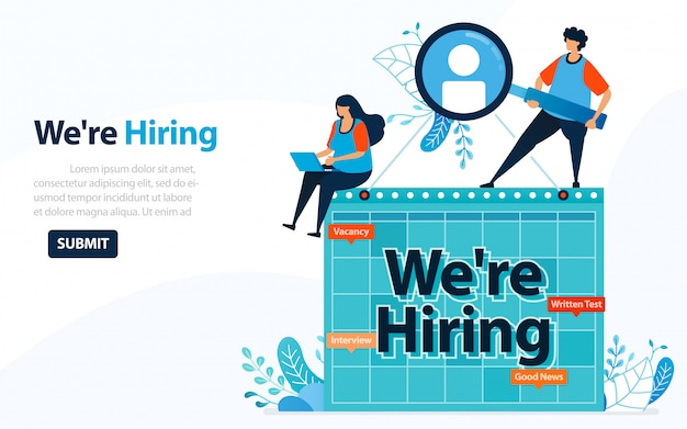 People looking for employees with words we're hiring, concept  illustration. Premium Vector