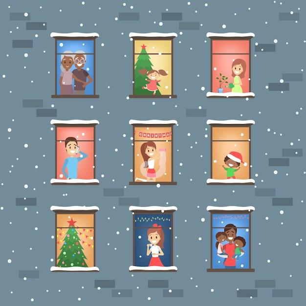 Люди, смотрящие в набор окон. соседи в квартире зимой. плоские векторные иллюстрации Premium векторы