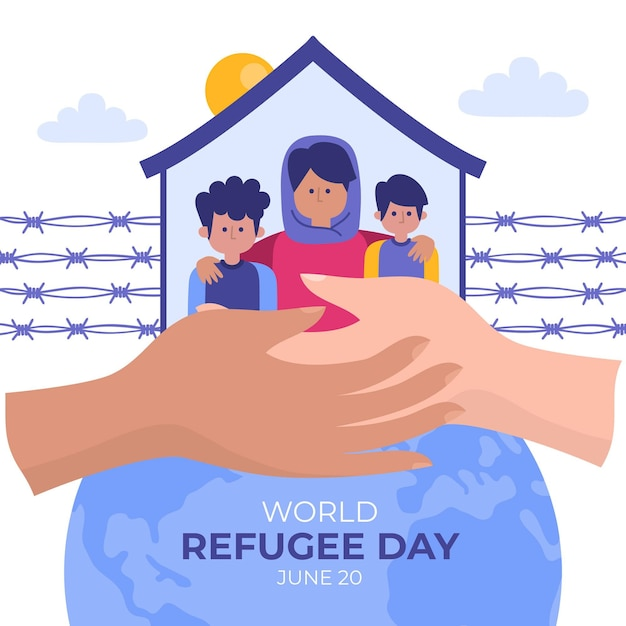 People looking for shelter refugee day Free Vector