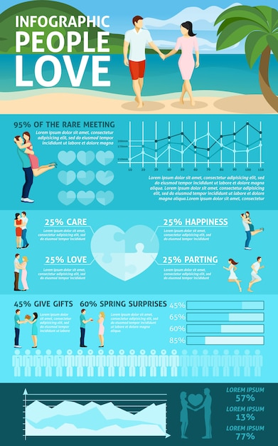 People in love infographics Free Vector
