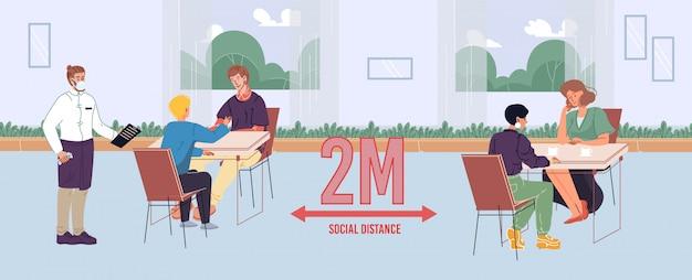 Люди, поддерживающие безопасную социальную дистанцию в кафе Premium векторы