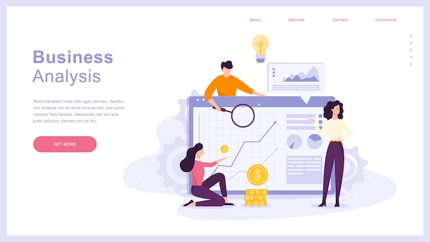 People making business analysis on the laptop Premium Vector