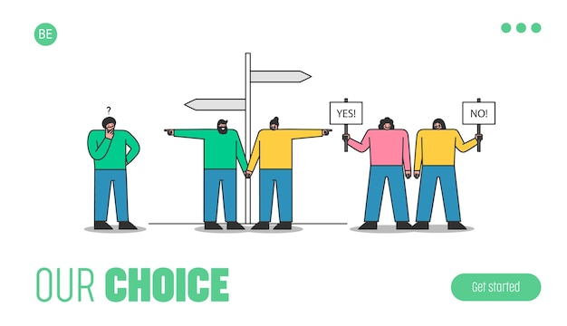 선택하는 사람들. 방법과 방향을 선택하는 만화가있는 템플릿 랜딩 페이지, 남자는 아이디어 또는 솔루션을 숙고하고, 여성은 아니오 및 예 표시를 유지합니다. 프리미엄 벡터
