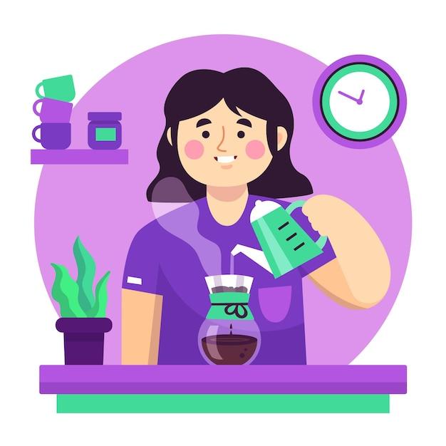Люди делают кофе разными способами Бесплатные векторы