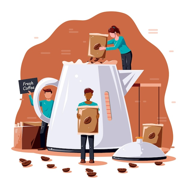People making coffee Premium Vector