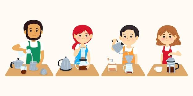 Люди, готовящие разные методы приготовления кофе Бесплатные векторы