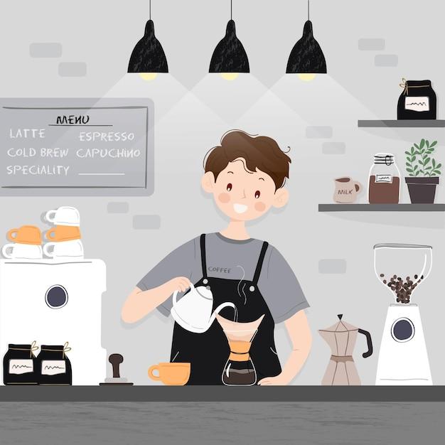 Люди делают разные способы приготовления кофе Бесплатные векторы