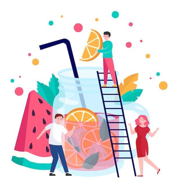 Persone che fanno bevande alla frutta Vettore gratuito