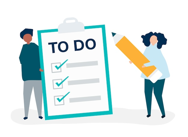 People making a to-do list illustration Free Vector