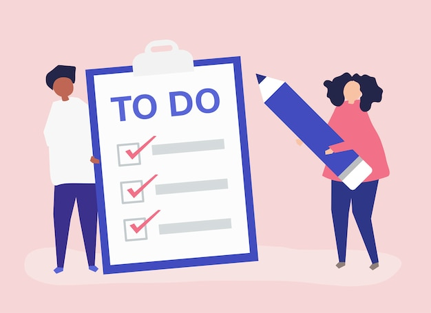 Free Vector | People making a to-do list illustration