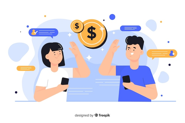People making money from referral concept illustration Free Vector