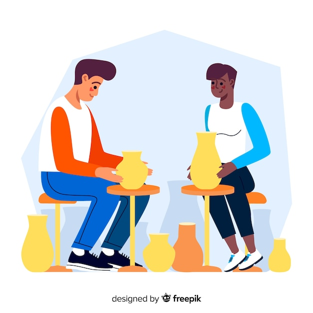 People making pottery flat design Free Vector