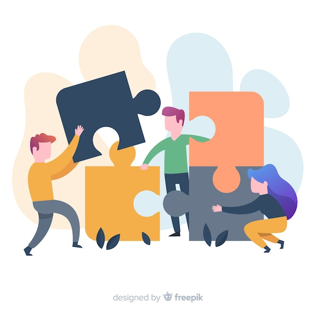 People making puzzle background Free Vector