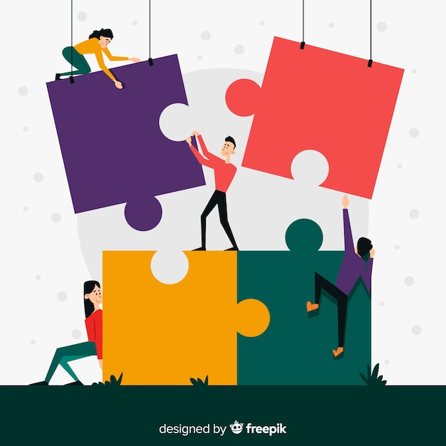People making puzzle together illustration Free Vector