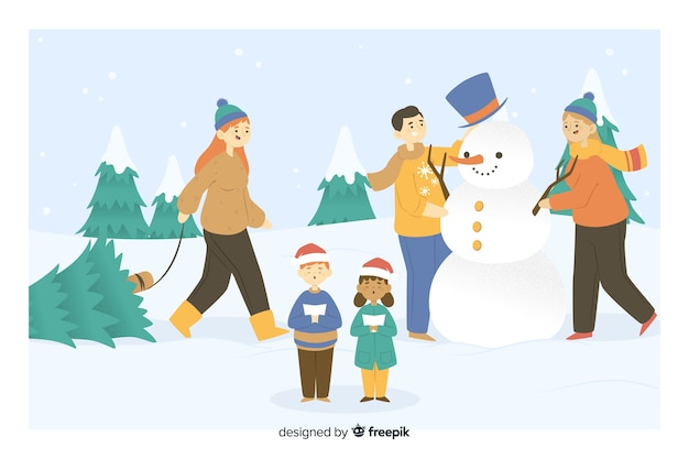 People making a snowman christmas party Free Vector