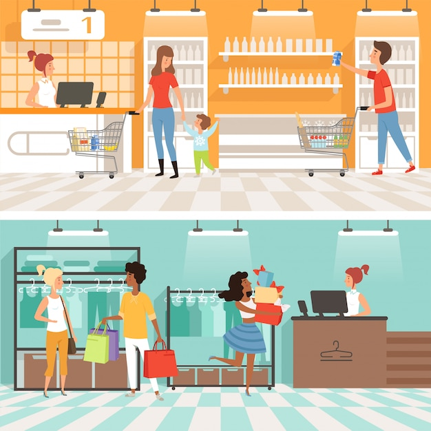 People male and female make purchases in store banner Premium Vector