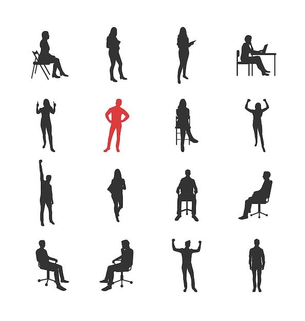 Люди, мужские, женские силуэты в разных повседневных общих позах - набор изолированных иконок современный плоский дизайн. стоя, сидя, держа книгу, восторг, успех, за компьютером Premium векторы