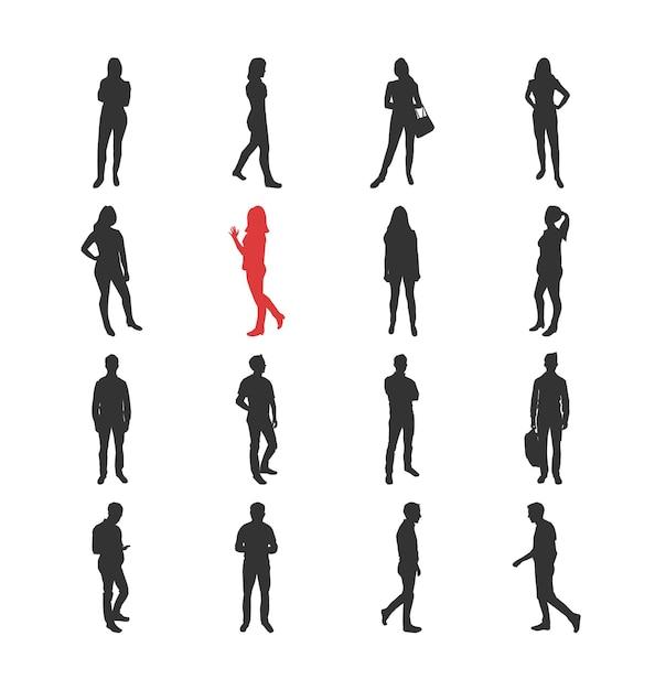 Люди, мужские, женские силуэты в разных повседневных общих позах - набор изолированных иконок современный плоский дизайн. стоя и гуляя, наблюдая за руками смартфона через акимбо с сумкой Premium векторы