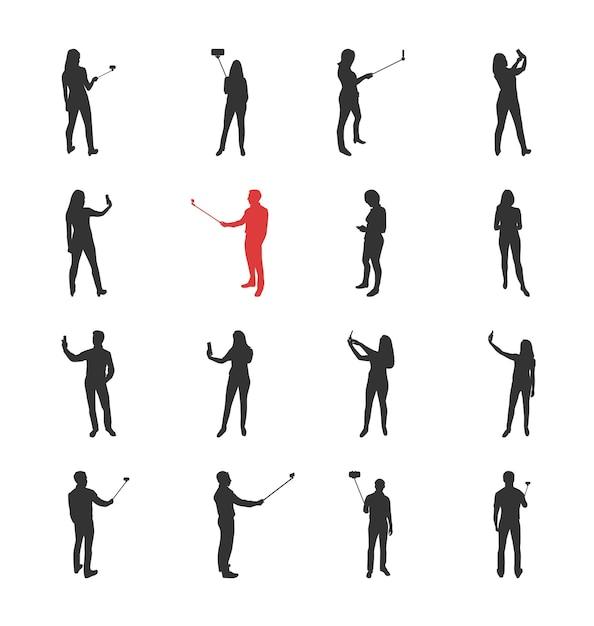 Люди, мужские, женские силуэты в различных позах снимков селфи - набор изолированных иконок современный плоский дизайн. создание селфи с помощью палки для селфи и без нее Premium векторы