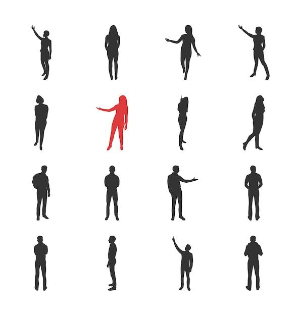 Люди, мужские, женские силуэты в различных позах, показывающих и просматривающих - набор изолированных иконок современный плоский дизайн. Premium векторы