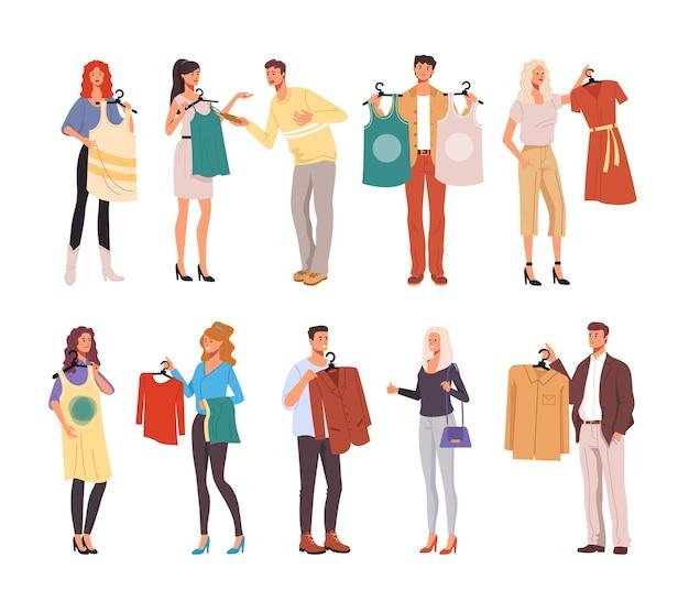 人々男性女性消費者キャラクターが服を試着しています。 Premiumベクター