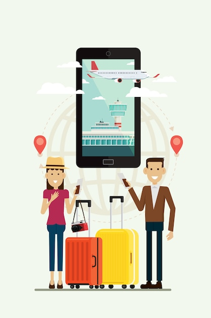 People man and woman with suitcases travel and plane path to goal on mobile, vector illustration Premium Vector