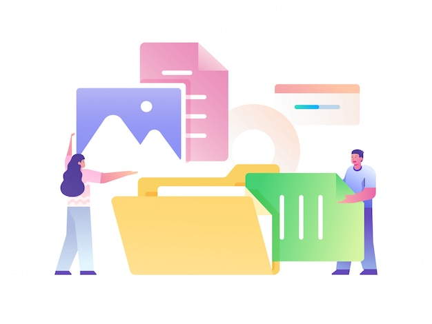 People managing file concept flat illustration Premium Vector