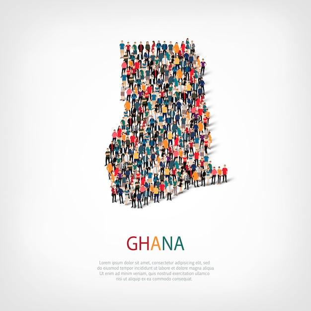 People map country ghana Premium Vector