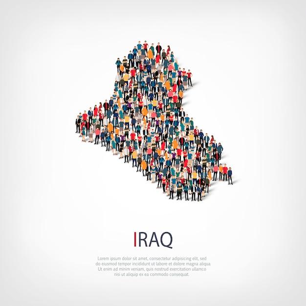 人々は国イラクをマップします Premiumベクター
