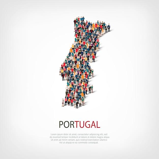 Люди карта страны португалия Premium векторы