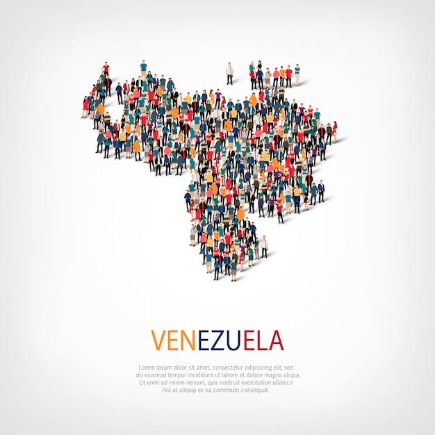 Люди карта страны венесуэла Premium векторы