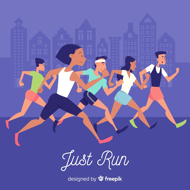 People on a marathon race Free Vector