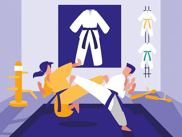 People in martials arts dojo scene Premium Vector