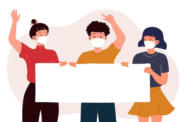 Persone in maschere mediche con cartelli Vettore gratuito