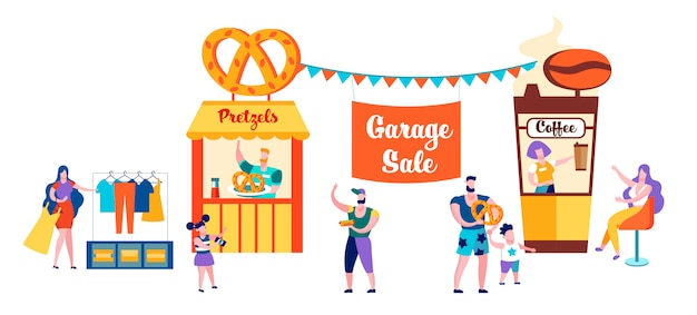 People Meeting And Eating Out In Public Place Premium Vector