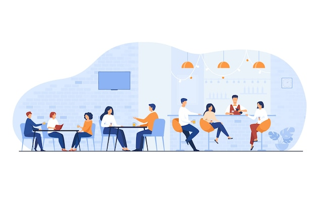 Люди, встречающиеся в баре ресторана на обед, изолировали плоскую векторную иллюстрацию. мультяшные мужчины и женщины пьют вино или пиво в пабе. Бесплатные векторы